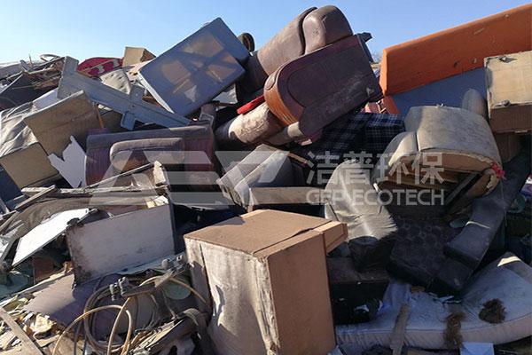 大件垃圾(旧家具)破碎工艺流程,大件垃圾破碎机生产线现场