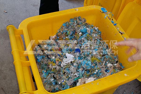 医疗垃圾破碎机处理系统,医疗废弃物预处理生产线现场